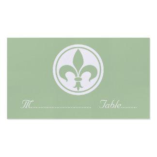 Chic Fleur De Lis Place Card, Sage Pack Of Standard Business Cards