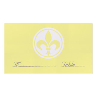 Chic Fleur De Lis Place Card Yellow Business Card