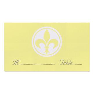 Chic Fleur De Lis Place Card, Yellow Pack Of Standard Business Cards