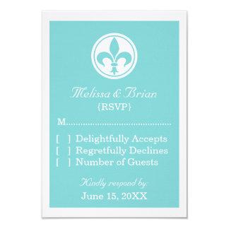 Chic Fleur De Lis Response Card, Aqua Personalized Announcement