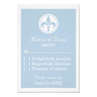 Chic Fleur De Lis Response Card, Blue Announcements