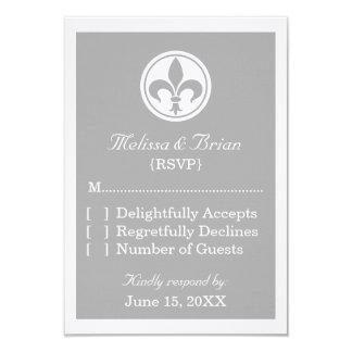 Chic Fleur De Lis Response Card, Gray Custom Announcement