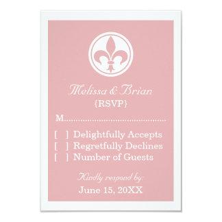 Chic Fleur De Lis Response Card, Pink Custom Invitation