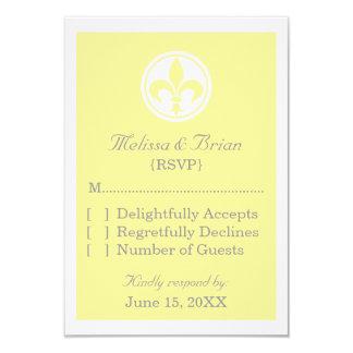 Chic Fleur De Lis Response Card, Yellow Personalized Announcement