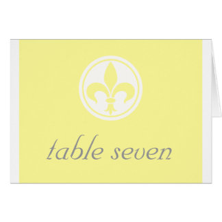 Chic Fleur De Lis Table Card Yellow