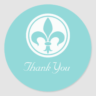 Chic Fleur De Lis Thank You Stickers Aqua