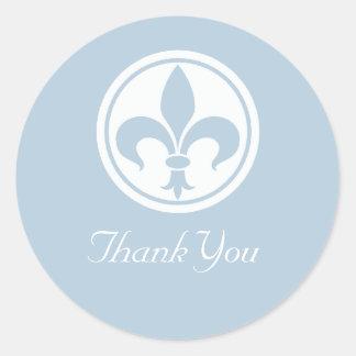 Chic Fleur De Lis Thank You Stickers, Blue