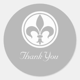 Chic Fleur De Lis Thank You Stickers, Gray