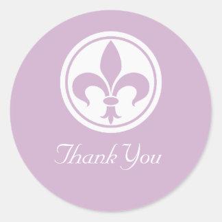 Chic Fleur De Lis Thank You Stickers, Lilac