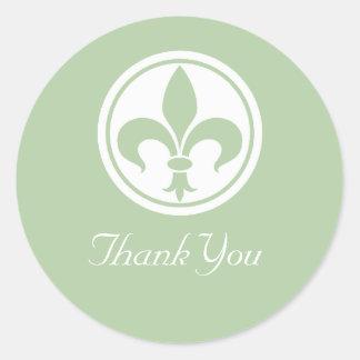 Chic Fleur De Lis Thank You Stickers, Sage