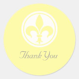 Chic Fleur De Lis Thank You Stickers, Yellow