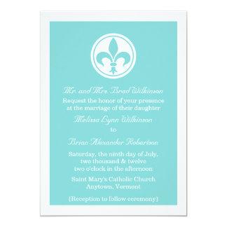 Chic Fleur De Lis Wedding Invite, Aqua