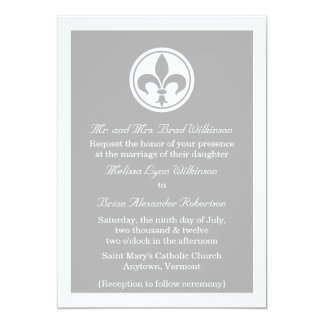 Chic Fleur De Lis Wedding Invite, Gray