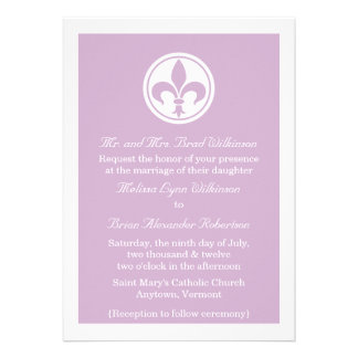Chic Fleur De Lis Wedding Invite Lilac