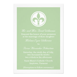 Chic Fleur De Lis Wedding Invite Sage