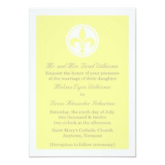 Chic Fleur De Lis Wedding Invite, Yellow