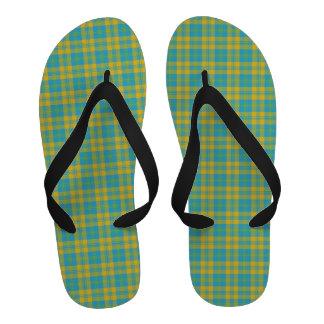 Chic Flip-flop Sandals Blue Yellow Green Plaid