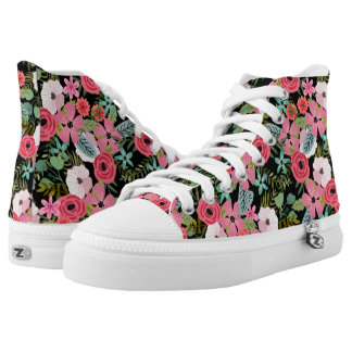 Chic floral boho high top sneakers Pink black