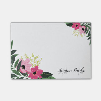 Chic Floral Border Monogram Post-it Notes