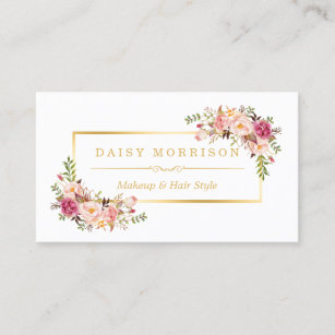 Beauty business cards zazzle uk chic floral gold frame makeup artist beauty salon business card reheart Gallery