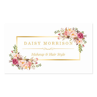 Chic Floral Gold Frame Makeup Artist Beauty Salon Pack Of Standard Business Cards