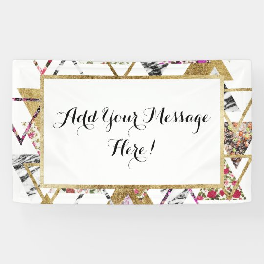 Chic Floral Gold Marble Geometric Triangles Banner