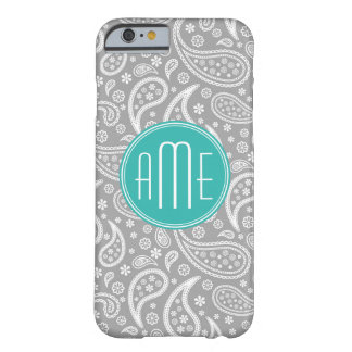 Chic Floral Gray Paisley Pattern & Aqua Monogram Barely There iPhone 6 Case