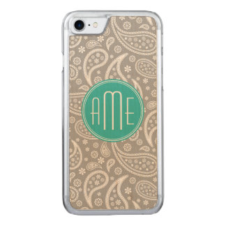 Chic Floral Gray Paisley Pattern & Aqua Monogram Carved iPhone 8/7 Case