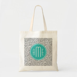 Chic Floral Gray Paisley Pattern & Blue Monogram Budget Tote Bag