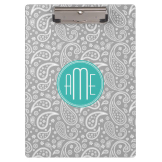 Chic Floral Gray Paisley Pattern & Blue Monogram Clipboard