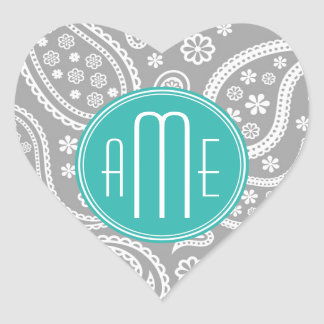 Chic Floral Gray Paisley Pattern & Blue Monogram Heart Sticker