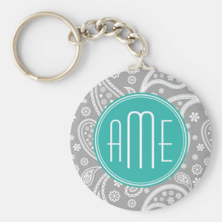 Chic Floral Gray Paisley Pattern & Blue Monogram Key Ring