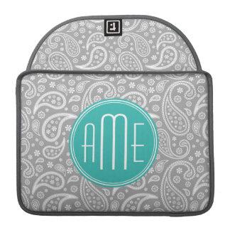 Chic Floral Gray Paisley Pattern & Blue Monogram MacBook Pro Sleeves