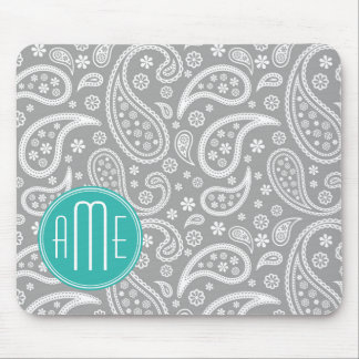 Chic Floral Gray Paisley Pattern & Blue Monogram Mouse Mat