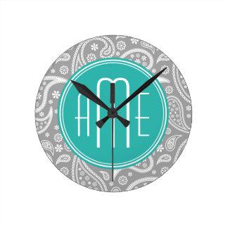 Chic Floral Gray Paisley Pattern & Blue Monogram Round Clock