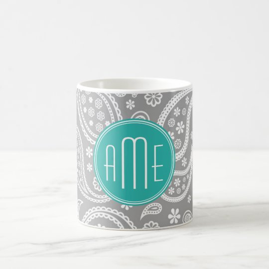 Chic Floral Grey Paisley Pattern & Blue Monogram