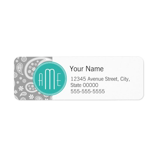 Chic Floral Grey Paisley Pattern & Blue Monogram Return Address Label
