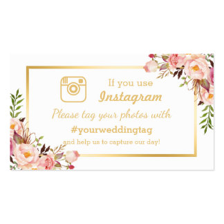 Chic Floral Instagram Hashtag Wedding Insert Card Pack Of Standard Business Cards