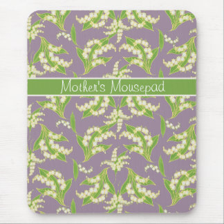 Chic Floral Mousepad: Lilies of the Valley, Mauve Mouse Pad