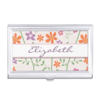 Chic Floral Pattern Design Monogram Business Card Holder