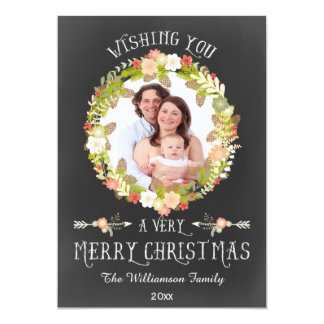 Chic Floral Pine Cones Wreath Holiday Photo Card 13 Cm X 18 Cm Invitation Card