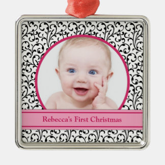 Chic Floral Pink Baby's First Christmas Ornament