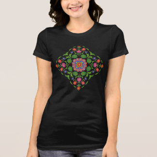 Chic Floral Rangoli on Black Women's T-shirt