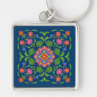 Chic Floral Rangoli on Deep Blue Square Keychain