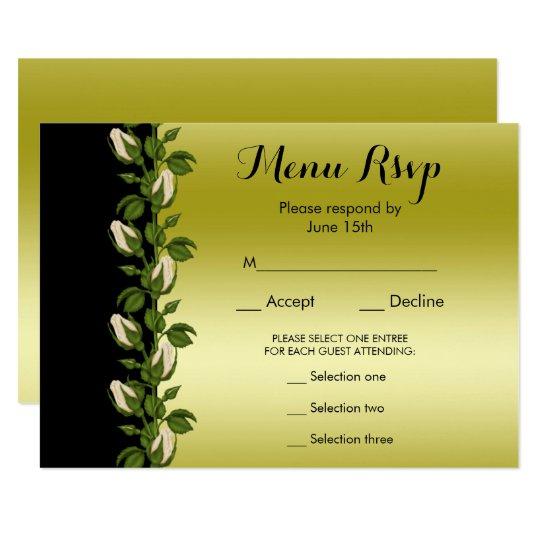 Chic Floral Romantic Gold & Black Menu RSVP