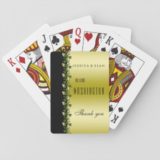 Chic Floral Romantic Gold & Black Thank You Playing Cards