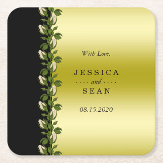 Chic Floral Romantic Gold & Black Wedding Favor Square Paper Coaster