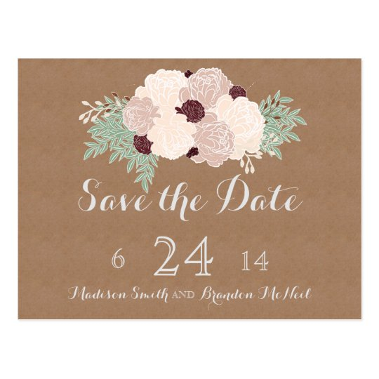 Chic Floral Save the Date- Dark Wine Accent