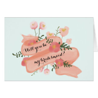 Chic Floral Vintage Banner Will Be My Bridesmaid? Cards