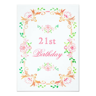 Chic Floral Watercolor 21st Birthday Double Sided 13 Cm X 18 Cm Invitation Card